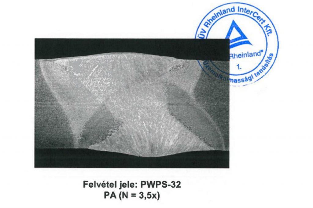 2012 – EN ISO 3834-2 hegesztéstechnológiai üzemtanúsítást